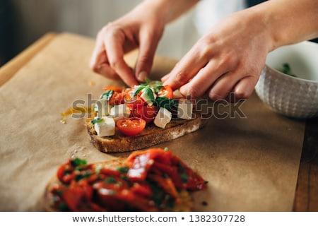 caprese · bruschetta · koktélparadicsom · mozzarella · bazsalikom · felső - stock fotó © karandaev