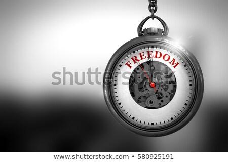 Stock fotó: Democracy on Vintage Pocket Clock. 3D Illustration.