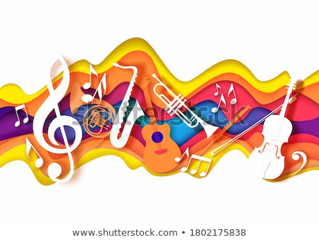 jazz day banner of saxophone music instrument stock photo © cienpies