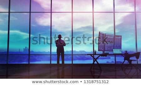 Silhouet handelaar kantoor infographics groot Windows Stockfoto © ConceptCafe