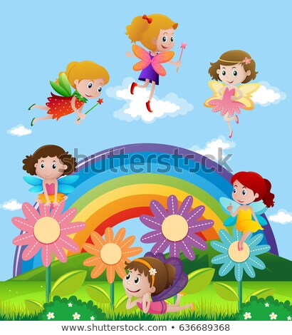 background scene with fairies flying over rainbow stock photo © colematt