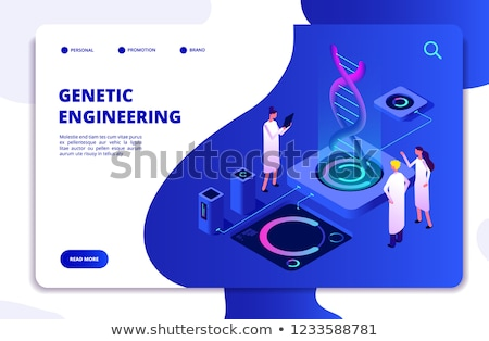 Foto stock: Genético · engenharia · aterrissagem · página · microscópio · cientistas
