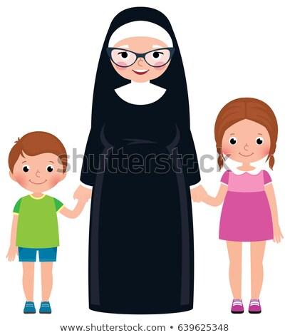 senior nun holding hands boy and girl children stock photo © urchenkojulia