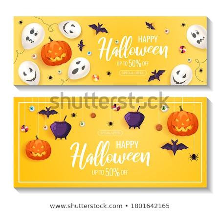 Korkutucu halloween afiş hayalet yüz dizayn Stok fotoğraf © SArts