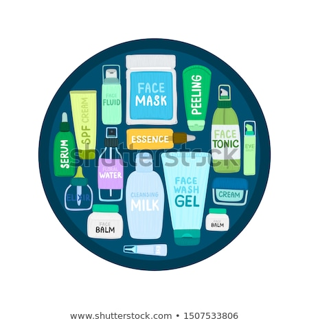 Organic or natural cosmetics. Many jars and bottles with various cosmetic names. Facial skin care Stock photo © user_10144511