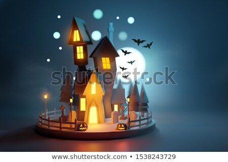 low poly haunted halloween house stock photo © solarseven