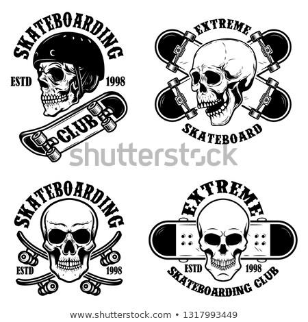 set of skateboarding club emblems with skulls design element for poster logo sign label t shirt stock photo © masay256