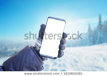 Kış yürüyüş uygulaması arayüz şablon uzun yürüyüşe çıkan kimse Stok fotoğraf © RAStudio