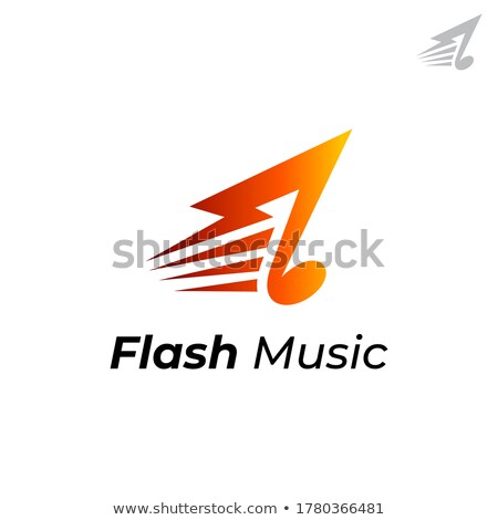 Musical template logo with thunderbolt and notes Stock photo © barsrsind
