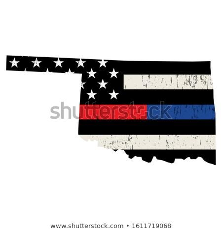 Oklahoma policji strażak wsparcia banderą amerykańską flagę Zdjęcia stock © enterlinedesign