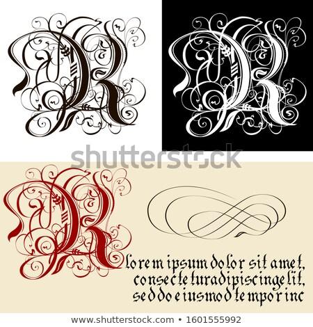 Decoratief gothic letter r schoonschrift vector eps8 Stockfoto © mechanik