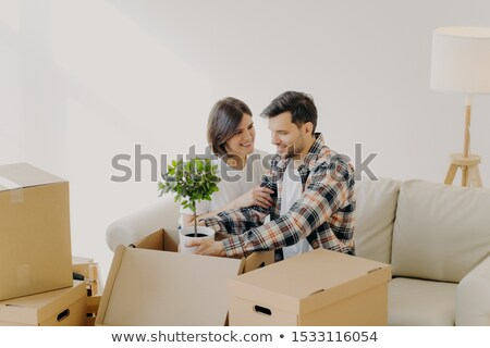 Boldog pár szeretet új otthon dobozok háztartás Stock fotó © vkstudio