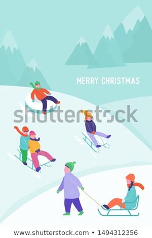 Cartoon boy riding a sled Stock photo © bennerdesign
