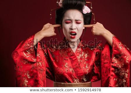 Görüntü geyşa kadın Japon kimono kulaklar Stok fotoğraf © deandrobot