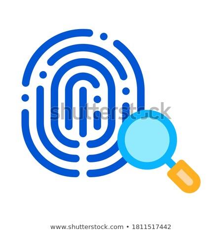 Vingerafdruk icon schets illustratie vector teken Stockfoto © pikepicture