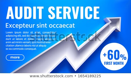 3d Arrow With Text Audit Service - Creative Vector Illustration On Blue Background Foto stock © Tashatuvango