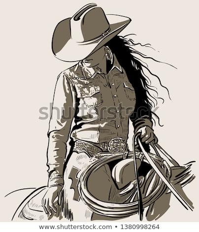 западной · девушки · вид · сзади · без · верха · Hat · джинсов - Сток-фото © pressmaster