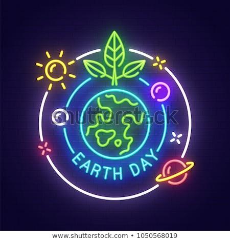 Föld napja neon címke ökológia promóció fa Stock fotó © Anna_leni
