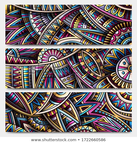 Abstract ethnic ornamental stripes set. 3 Vector vintage banners collection Stock photo © balabolka