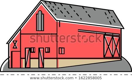 Red Farmhouse Barn Mono Line Stock photo © patrimonio