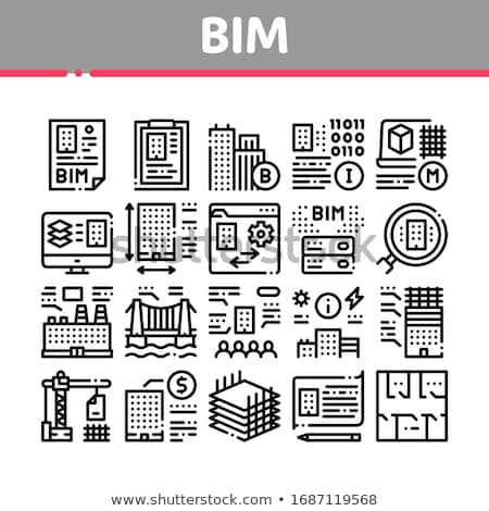 Bim Building Information Modeling Icons Set Vector Stock photo © pikepicture