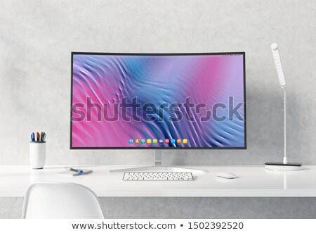 Компьютерный монитор служба таблице конкретные стены реалистичный Сток-фото © sedatseven