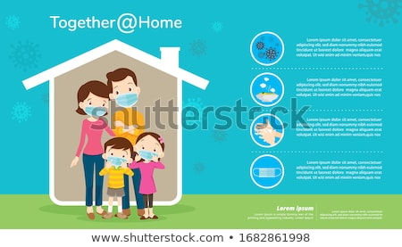 Woman staying at home and wearing protective surgical mask Stock photo © Novic