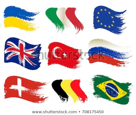 Ukrajna zászló kéz fehér terv felirat Stock fotó © butenkow