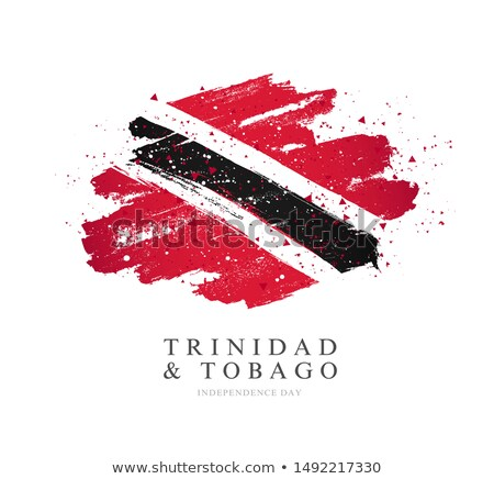 trinidad and tobago flag and hand on white background. Vector illustration Stock photo © butenkow