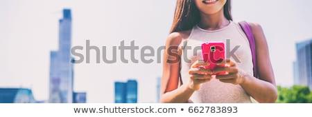 городского девушки sms мобильного телефона Сток-фото © Maridav