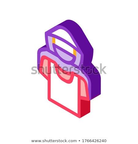 Póló bolti tolvaj izometrikus ikon vektor felirat Stock fotó © pikepicture