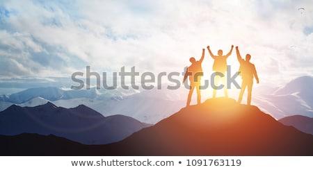 Győzelem szimbólum nyertesek pódium sziluett siker Stock fotó © antoshkaforever