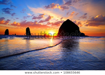 golden sunset at cannon beach stock photo © craig