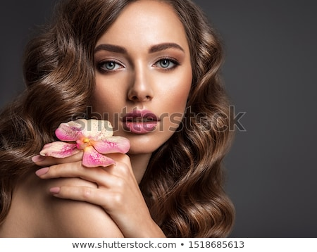 Closeup on beautiful face with flowers Stock photo © Anna_Om