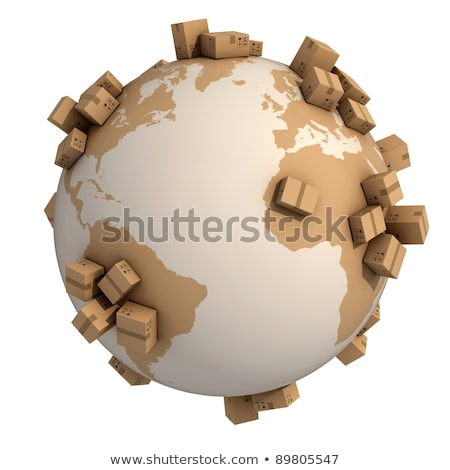 Stock fotó: Cardboard Boxes Around Earth