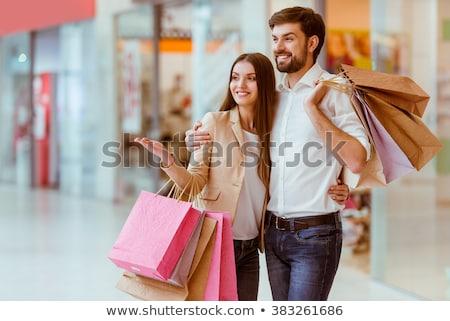 alegre · compras · roupa · juntos · roupa - foto stock © hasloo