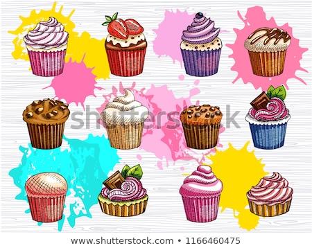 Muffins partij icing Stockfoto © dornes