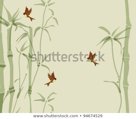 Card with bamboo and swallows Stock photo © Elmiko