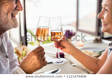 couple · de · personnes · âgées · potable · rose · restaurant · vin · femmes - photo stock © photography33