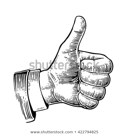 Stock photo: Hand drawing a thumbs up sign
