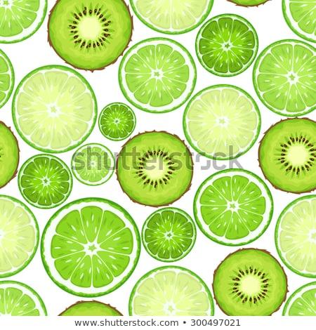 seamless pattern of green lime slices stock photo © boroda