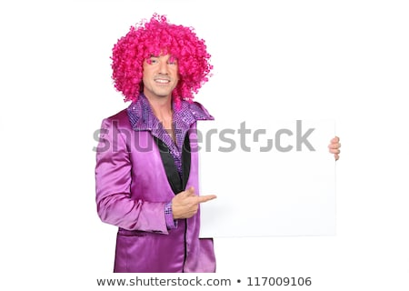 Man in silly seventies costume holding blank board ready for your message Stock photo © photography33