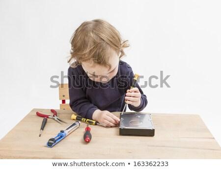 gyermek · javít · nyitva · merevlemez · dolgozik · szürke - stock fotó © gewoldi