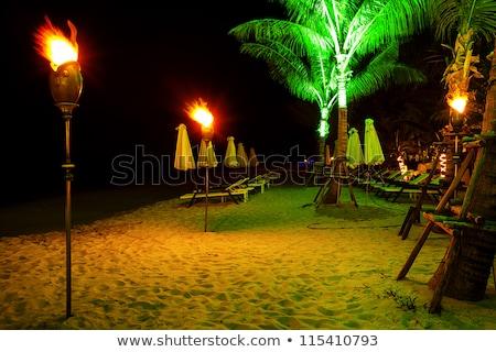 Cadeiras de praia noite hdr praia céu mar Foto stock © moses