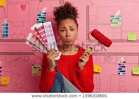 Buzgó női ház lány mosoly munka Stock fotó © photography33
