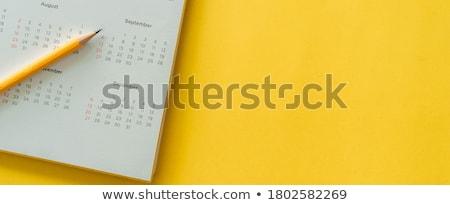 ストックフォト: カレンダー · ステッカー · ペン · 緑 · 時間