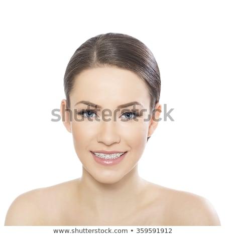 Gülme kız portre pantolon askısı mutlu 15 Stok fotoğraf © pumujcl