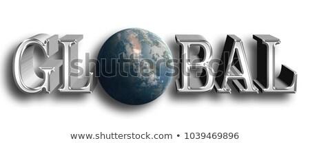szöveg · világ · földgömb · női · kezek · magasra · tart - stock fotó © stryjek