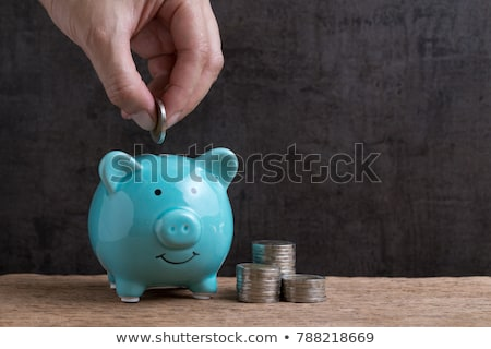 man putting coins in piggy bank stock photo © photography33