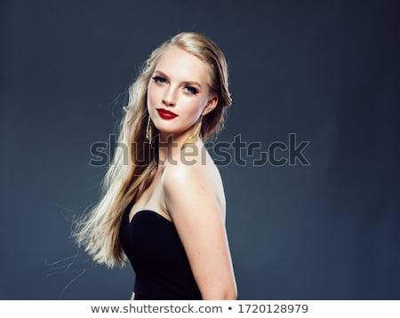 Elegáns szőke nő fekete rúzs portré lövés Stock fotó © carlodapino